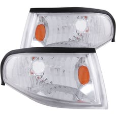 AnzoUSA 521016 Euro Corner Lights Chrome with Amber Reflector