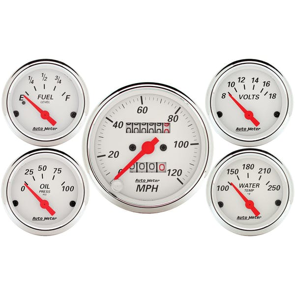 AutoMeter Products 1300 5 Pc. Kit Artic White (Mechanical Speedo)