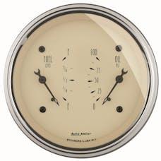 AutoMeter Products 1813 Gauge; Dual; Fuel/OILP; 3 3/8in.; 240OE-33OF/100psi; Elec; Antq Beige