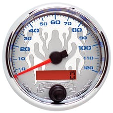 """AutoMeter Products 19343 Speedometer Gauge, Electric Chrome Flame-Pro Cycle 2 5/8"""", 120 MPH"""