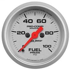 "AutoMeter Products 200850-33 Fuel Pressure Gauge, Marine Silver  2 1/16"", 100PSI Digital Stepper Motor"