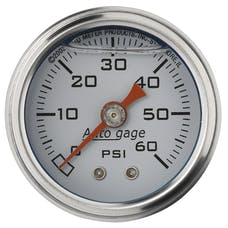 AutoMeter Products 2176 Auto Gage Series Dampened-Movement Pressure Gauge (White, 0-60 PSI, 1-1/2 in.)