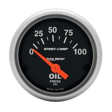 AutoMeter Products 3327 GAUGE; OIL PRESSURE; 2 1/16in.; 100PSI; ELECTRIC; SPORT-COMP
