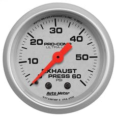 """AutoMeter Products 4325 2-1/16"""" Exhaust Pressure 0-60 psi, mech, Ultra-Lite"""
