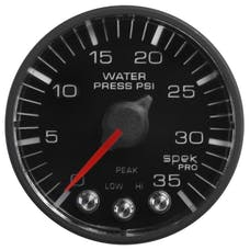 AutoMeter Products P343328 Spek Pro 2-1/16in Water Pressure, 0- 35 PSI, Black Dial, Black Bezel