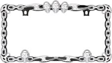 Cruiser Accessories 25135 Skull & Chain License Plate Frame (Chrome, Black)