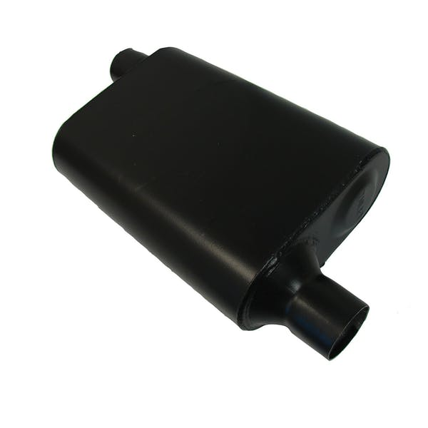 CSI Accessories 42443 Welded Chambered Muffler; 2.25in. IN (O)/OUT (O)Opposite Side Offset