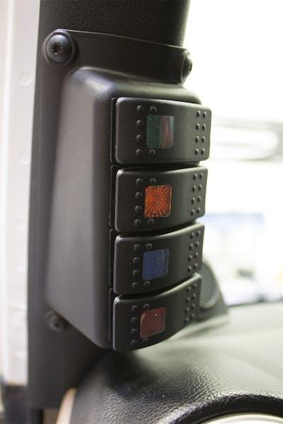 Daystar KJ71056BK A-Pillar Switch Pod; Black (Includes 4 Switches)