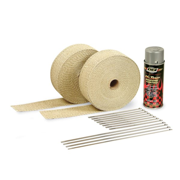 Design Engineering, Inc. 010112 Exhaust Wrap Kit - with Tan Wrap & Aluminum HT Silicone Coating
