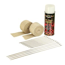Design Engineering, Inc. 010332 Motorcycle Exhaust Wrap Kit (Tan wrap w/White HT Silicone Coating)