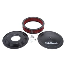 "Edelbrock 1225 Pro-Flo Black 14"" Round Air Cleaner with 3"" Cotton Element (Deep Flange)"