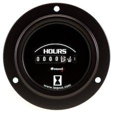 """Equus 6210 Gauge, Hourmeter, 2"""", 10K Hours, Electric, Black Dial, Flange Mount, 6000"""