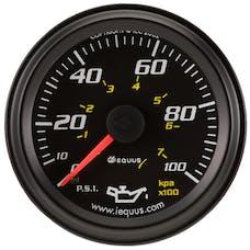 "Equus 6244 Gauge, Oil Pressure, 2"", 0-100Psi, 270º Sweep Mech, Black, 6000 Series"