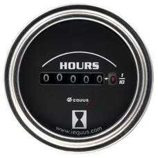 "Equus 7210 Gauge Hourmeter, 2"", 10K Hours, Elec, Black Dial, Chrome Bezel, 7000 Series"