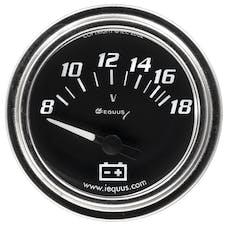 "Equus 7268 Gauge, Voltmeter, 2"", 8-18V, 90 Degree Sweep, Elec, Chrome, 7000 Series"