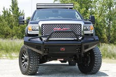 Fab Fours, Inc GM14-S3162-1 Black Steel Bumper with Pre-runner Guard with Tow Hooks
