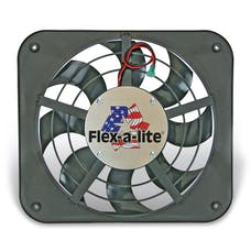 "Flex-A-Lite 123 Fan Electric 12"" single shrouded Lo-Profile S-blade pusher fan w/o controls"