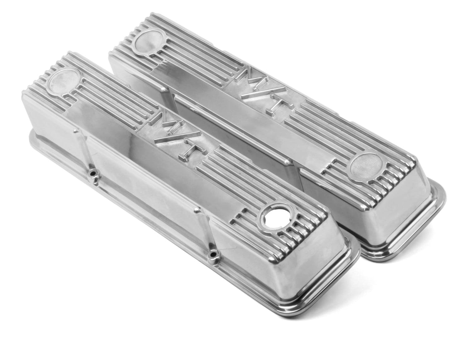 """Holley 241-106 GM Style Finned /""""Script/"""" Perimeter Bolt Valve Cover Pair Sbc"""