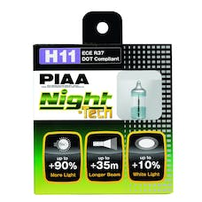 PIAA 10711 Night Tech Series White Halogen Bulb (H11, Twin Pack)