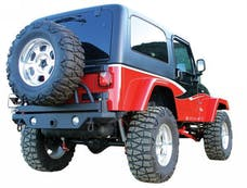 Rampage Products 76610 Rear Recovery Bumper; Black w/Swing Away Tire Mount; Lights Sold Separately