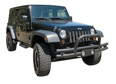 Rampage Products 88625 Double Tube Bumper Textured Black - Front with Light Pod & Stinger