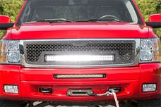 Rough Country 70196 Laser-Cut Mesh Grille w/ 30-inch Black Series Dual Row CREE LED Light Bar