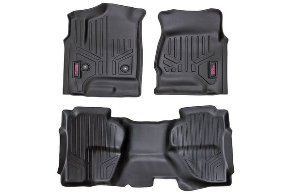 Rough Country M-21412 Heavy Duty Floor Mats - Front & Rear Combo (Double Cab Models)
