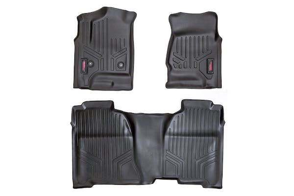 Rough Country M-21413 Heavy Duty Floor Mats - Front & Rear Combo (Crew Cab Models)