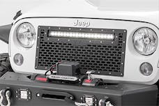 Rough Country 10530 Laser-Cut Mesh Grille w/ 20-inch Chrome Series Single Row CREE LED Light Bar