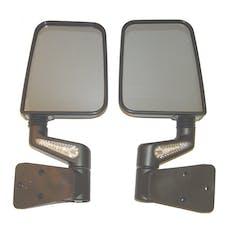 Rugged Ridge 11015.20 Heated Door Mirror Kit; LED Signals; Black; 87-02 Jeep Wrangler YJ/TJ