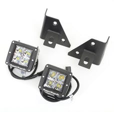 Rugged Ridge 11027.12 Windshield Bracket LED Kit, Black, Square