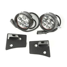 Rugged Ridge 11027.17 Windshield Bracket LED Kit; Textured Black; Round; 07-17 Wrangler JK