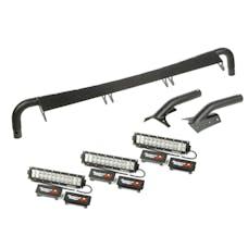 Rugged Ridge 11232.29 Windshield Light Bar Kit; 3 x 13.5in. Combo Lamps; 97-06 Jeep Wrangler