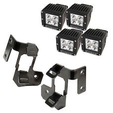Rugged Ridge 11232.33 A-Pillar Light Mount Kit, Semi-Gloss Black, Square LED