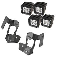 Rugged Ridge 11232.35 A-Pillar Light Mount Kit, Textured Black, Square LED
