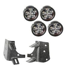 Rugged Ridge 11232.37 Dual A-Pillar LED Kit; 3.5in. Round Lights; 97-06 Jeep Wrangler TJ/LJ