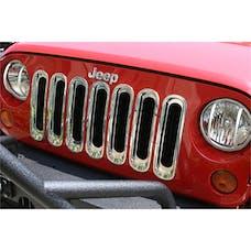 Rugged Ridge 11306.20 Grille Inserts; Chrome; 07-17 Jeep Wrangler JK