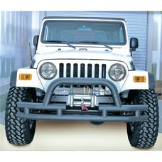 Rugged Ridge 11561.03 Double Tube Front Winch Bumper with Hoop, 3in