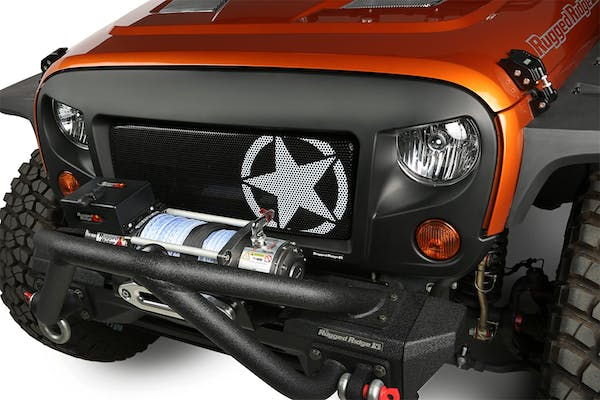 Rugged Ridge 12034.21 Spartan Grille Insert; Military Star; 07-17 Jeep Wrangler JK