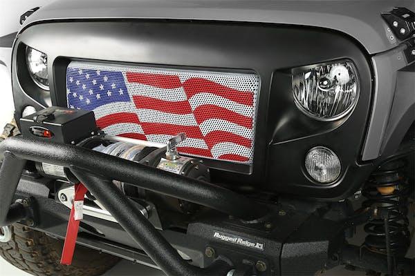 Rugged Ridge 12034.22 Spartan Grille Insert; American Flag; 07-17 Jeep Wrangler JK