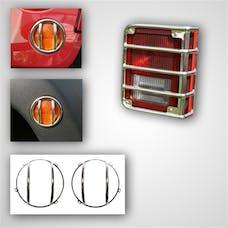 Rugged Ridge 12496.09 8 Piece Euro Guard Light Kit; Stainless Steel; 07-17 Jeep Wrangler JK