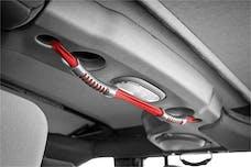 Rugged Ridge 13305.13 Rear Dual Grab Strap; Red; 07-17 Jeep Wrangler JKU