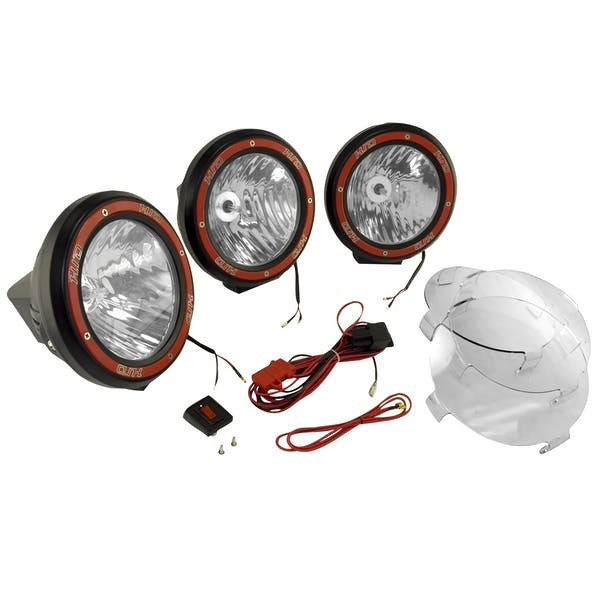 Rugged Ridge 15205.63 7 Inch Round HID Off Road Light Kit; Black Composite Housing; Set of 3