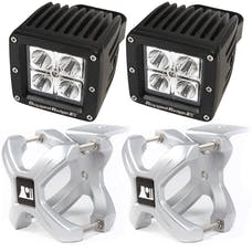 Rugged Ridge 15210.32 X-Clamp and Square LED Light Kit; Small; Silver; 2 Pieces