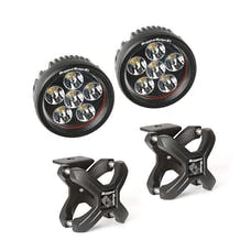Rugged Ridge 15210.94 X-Clamp and Round LED Light Kit; Large; Textured Black; 2 Pieces