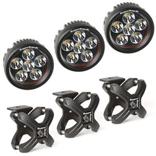 Rugged Ridge 15210.95 X-Clamp and Round LED Light Kit; Large; Textured Black; 3 Pieces