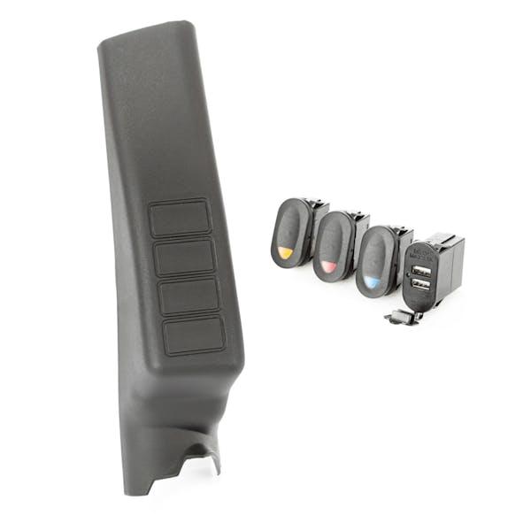 Rugged Ridge 17235.98 A-Pillar Pod Kit; 3 Switch; Dual USB Connector; 11-17 Wrangler JK/JKU