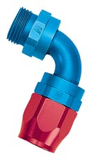 Russell 612460 Hose End; Radius Port; 90°, -6AN inlet, -6AN out; Blue/Red Finish