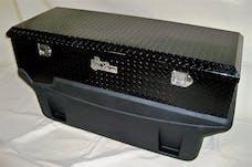 TITAN Fuel Tanks 9991160 Large Locking Black Aluminum Diamond Plate Toolbox Secure Two Compartments
