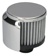 "Trans Dapt Performance 9516 3"" Tall ""PUSH-IN"" Style Breather w/HOOD; Open Cotton Filter; 1-1/4"" Hole-CHROME"